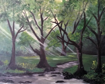 Sunshine in the Redwoods, Original Oil in full color on 24x18x1 canvas