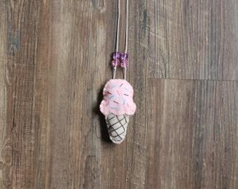 Felt Ice Cream Cone Necklace
