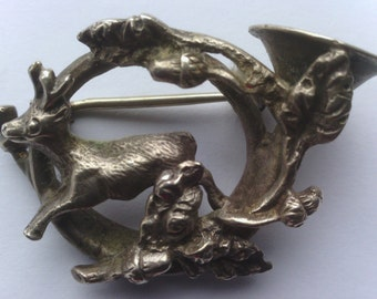 Antique French Horn Silver Deer Brooch