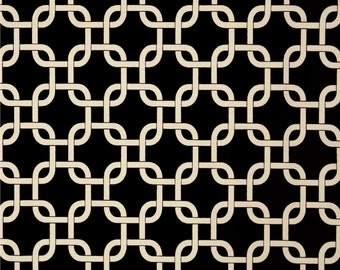 Premier Prints Gotcha Indoor / Outdoor Ebony - Black and Cream Chain Link Outdoor Fabric, Black Geomtric Fabric - Fabric by the 1/2 yard