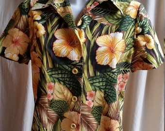 Ladies tropical hibiscus floral retro cotton button up hand made blouse size 16