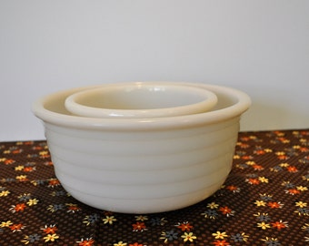 2 Vintage Milk Glass Mixing Bowls. Heavy, Durable, Stackable. 1950's. Original to Westinghouse Stand Mixer. Ribbed Beehive Design.