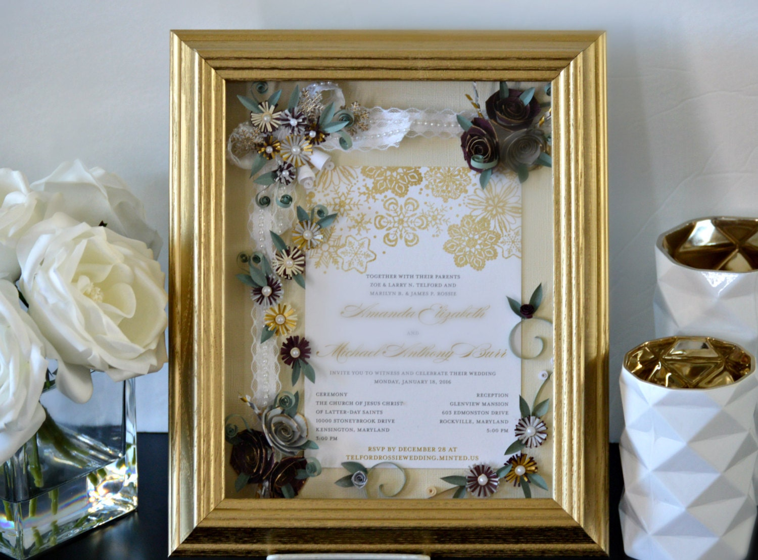 Wedding Invitation Gifts: Custom Wedding Invitation Framed Wedding