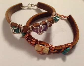 Leather Amethyst and Turquoise Bracelet with Silver Wiring