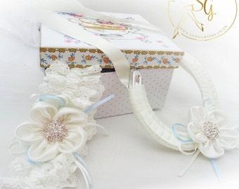 Antoinette tulle wedding garter and horseshoe set