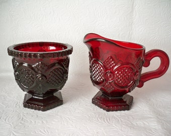 1970s Vintage Cape Cod Red Ruby Glass Creamer and Sugar Set by Wheaton Glass