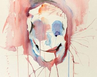 Skull Abstract Watercolor Painting