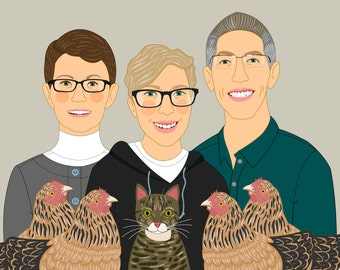 Big family portraits. Only digital file. Custom family illustration. Family with pets.