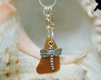 Amber Sea Glass Necklace with Dragonfly