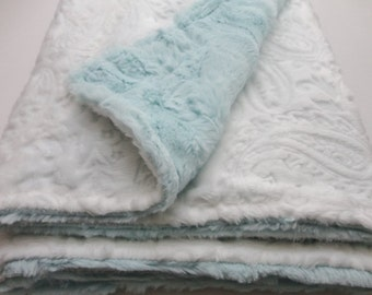 Clearance!  White and Aqua/Sea Glass Minky Baby Blanket - Paisley - Made to Order