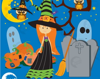 Halloween Clipart, Little Witch Clipart, Ghosts, Owls, Pumpkins Tombstones, Commercial Use, Instant Download, AMB-277