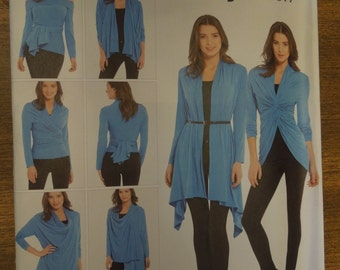 Simplicity 1065, sizes XS-XL, misses, womens, UNCUT sewing pattern, craft supplies, knit wrap and tie cardigan
