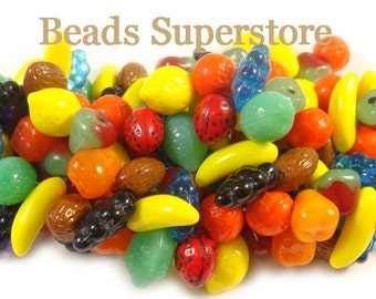 SALE 10-17 mm Multicolor Czech Glass Fruit Bead Mix - 24 pcs