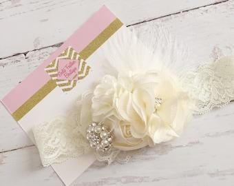 Cream ivory headband // couture headband // wedding flower girl baptism headband // holiday christmas headband // baby girl big girl