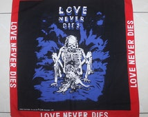 Vintage Love Never Dies Handkerchief Bandana Skull Skeleton