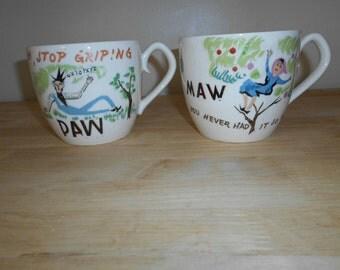 Vintage Maw Paw Coffee Mug Tea Cups Hand Painted in Japan Mom Dad Grandma Grandpa