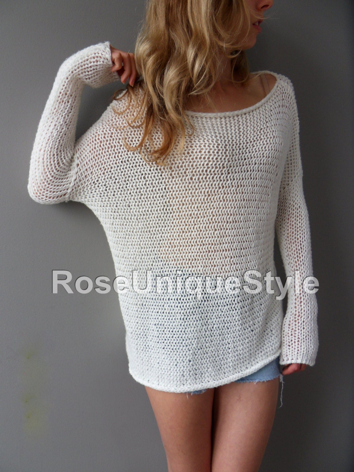 Knitting Summer Sweater : Slouchy spring summer cotton blend sweater loose knit
