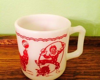 Vintage Hazel Atlas Child's Circus Mug White Milk Glass Red Clowns Donkey Seal Pig