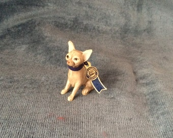 Vintage Jane Callender Blue Ribbon Winner Miniature Chihuahua Dog Figurine With Hang Tag