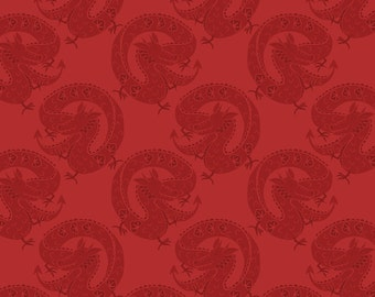 Half metre Minshan A117-1 Red lucky dragon Lewis & Irene Patchwork Quilting Fabric