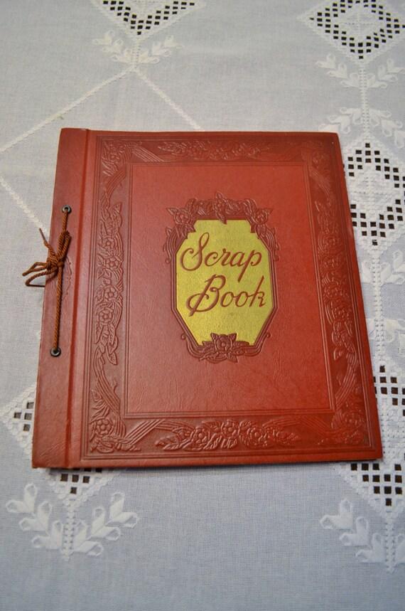 Vintage Scrapbook Cover : Vintage scrapbook red hard cover gold lettering blank pages