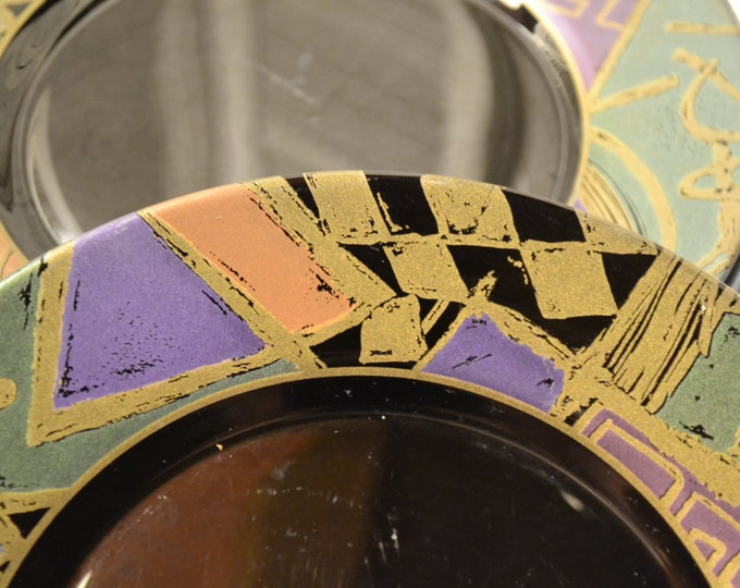 Vintage Arcoroc Harlequin Salad Plate Set of 4 Black Glass Geometric Design France PanchosPorch