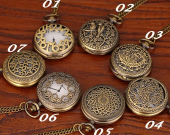 Vintage style antique bronze pocket watch necklace pendant, real watch, battery replaceable,steam punk, free chain