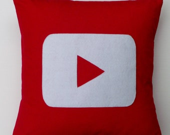 Geek gift cushion cover, YOUTUBE icon inspired, fun Techie decor - Social media fan gift
