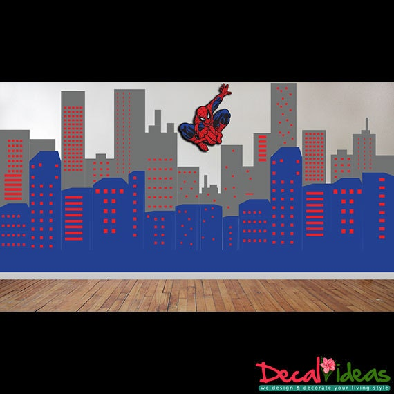 City Skyline Superhero Spider Man Theme Wall Decal City
