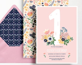 1st Birthday Invitation Girls Folk Flowers Garden Party Floral Pink Peach Yellow Blue Folk Printable Digital DIY First Milestone