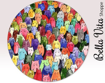Colorful Cats Hipster Mouse Pad Custom Doodle - Round or Rectangle - Mouse Mat - Mousepad - Mousemat - Colorful Cats Mouse Mat,