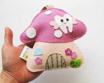 DUSTY PINK Toadstool - Tooth Fairy pillow, 100% pure wool felt, Perth Australia
