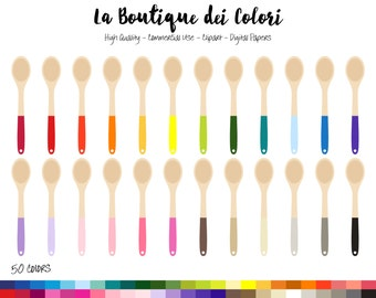 50 Rainbow Wooden Spoon Clip art, Graphics PNG, colorful Spoons, Cooking Utensil, Baking, Kitchen Clipart, Planner Stickers Commercial Use