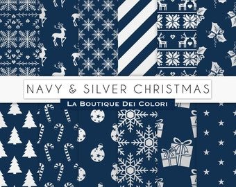 Navy and Silver Christmas Digital Paper, Silver Background, Christmas Tree, Stars, Snowflakes Background for Commercial Use