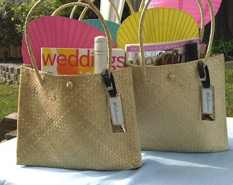 6 pcs Palm Leaf Shoulder Bag- Medium