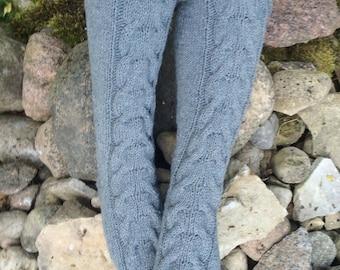 Hand knit wool gray slipper socks Knit Knee Socks Cable Knit Slipper Boots Knitted slippers socks home socks Socks and slippers beige cuff