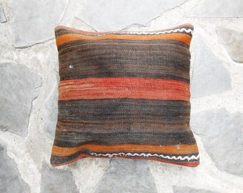 Kilim cushion in brown and rusty colors 45x45cm