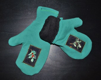 Warm Winter Mittens, Teal Mittens, Handmade MIttens, Fleece Lined Mittens, UPcycled Mittens