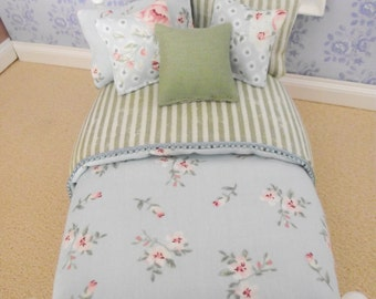 Handmade 12th scale doll house french provencial style bedding set for a single bed 6 piece blue green floral