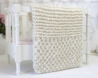 Beginner Knitting PATTERN 102 - Buttercream - Baby Afghan Pattern - EASY - 2 sizes - Beginner Knit Baby Blanket & Blanket Throw
