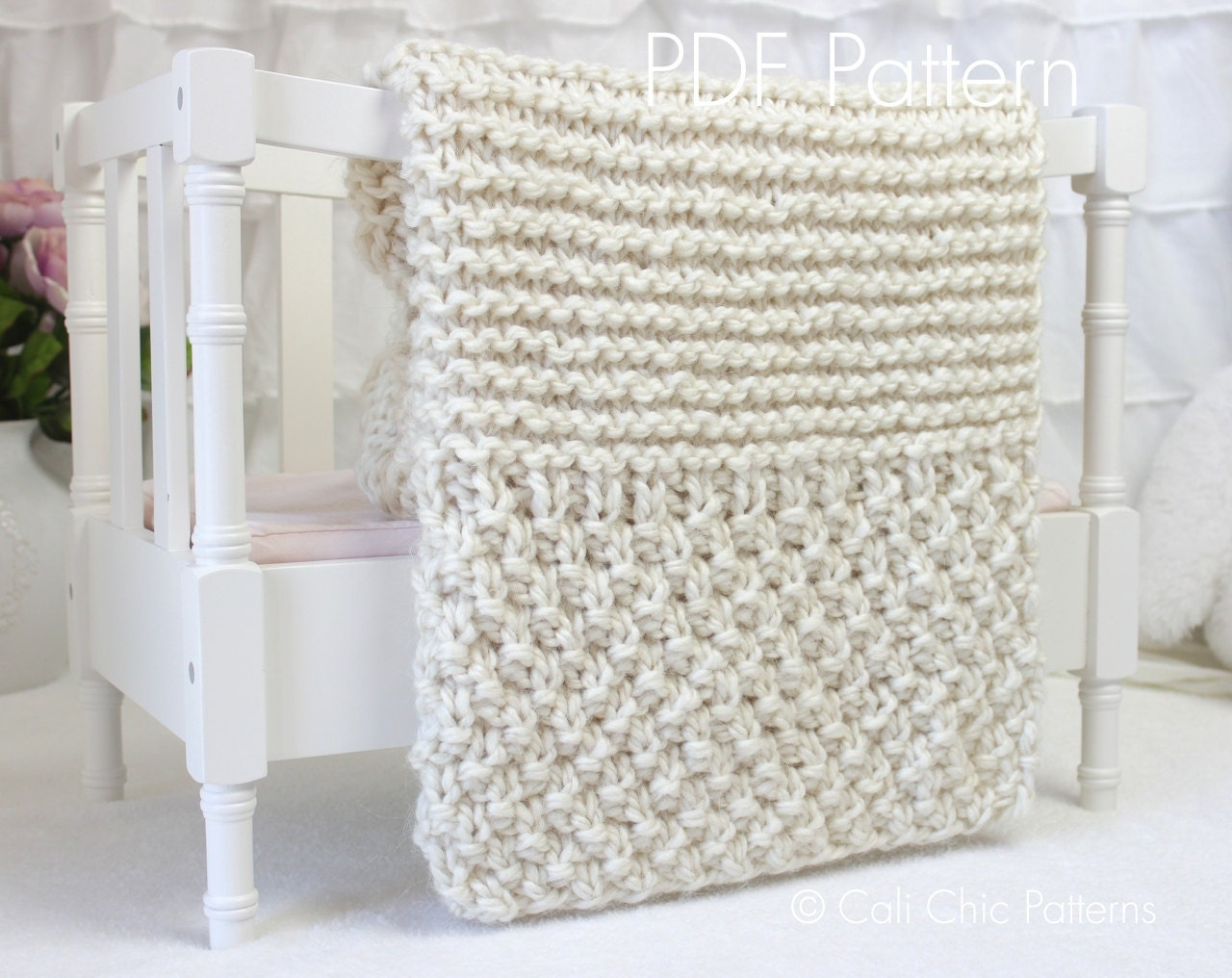 Easy Knitting Baby Blankets Pattern Beginners : Beginner Knitting PATTERN 102 - Buttercream - Baby Afghan Pattern - EASY - 2 ...
