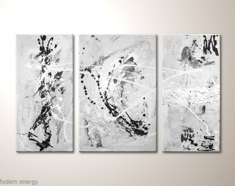 """Unique modern canvas art painting: """"Modern energy"""" - chabby chic, abstract artwork -contemporary wall decoration,white,grey,silver"""