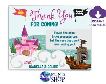 INSTANT DOWNLOAD Thank you card Princess Pirate Party, Princess, Princess Party, Pirate Princess Party -  Custom Printable DIY