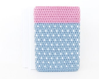 Blue Pink 7 inch tablet case, iPad mini 4 cover, polkadot Nexus 7 sleeve, pink Nook HD sock, BlackBerry Playbook pouch, LG G Pad soft cover