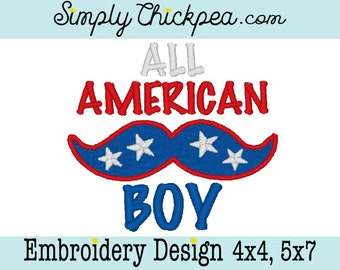 Embroidery Design - All American Boy - Mustache - Instant Download - Applique and Fill - 4th of July - For 4x4 and 5x7 Hoops