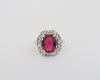 Vintage Sterling Silver Ruby & White Topaz Halo Ring Size 6