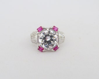 Vintage Sterling Silver White Topaz & Ruby Dome Ring Size 7