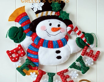 Bucilla Snowman Believe ~ Felt Christmas Wall Hanging Kit #86333 Frosty New 2012 DIY