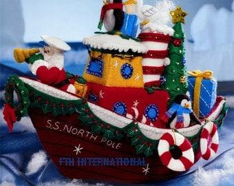 Bucilla Christmas Tugboat ~ Felt Christmas Home Decor Kit #86204 Santa, Penguin DIY