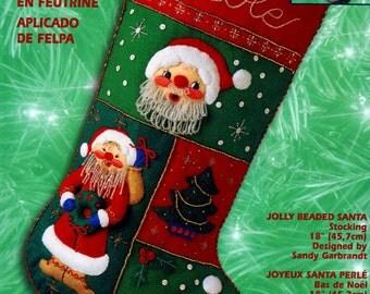 "Bucilla Jolly Beaded Santa ~ 18"" Felt Christmas Stocking Kit #84382 Tree, Beard DIY"